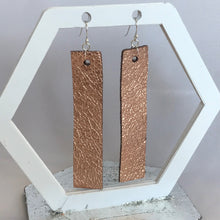 Load image into Gallery viewer, Rose Gold Metallic Rectangular Leather Earrings