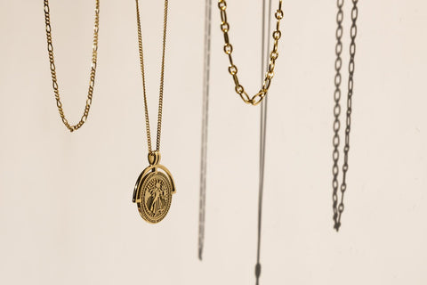 A range of chain necklaces for layering