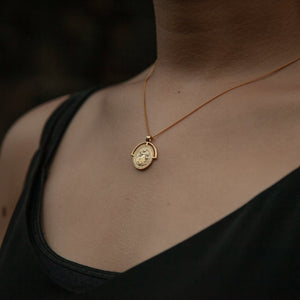 Gold Medallion Necklace Image on Model