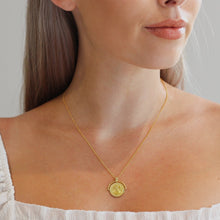 Load image into Gallery viewer, Gold plated Medallion Coin Necklace styled on Model