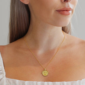 Gold plated Medallion Coin Necklace styled on Model