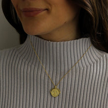 Load image into Gallery viewer, How to style gold medallion coin necklace with your winter cosy jumpers
