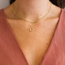 Load image into Gallery viewer, Styling necklaces together on model aesthetic. Layering Necklaces.