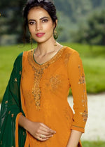Mustard & Green Georgette Embroidered Churidar Suit