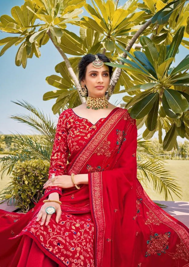Red Pure Jacquard Silk Embroidered Palazzo Suit