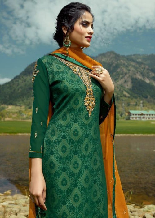 Green & Mustard Georgette Embroidered Churidar Suit