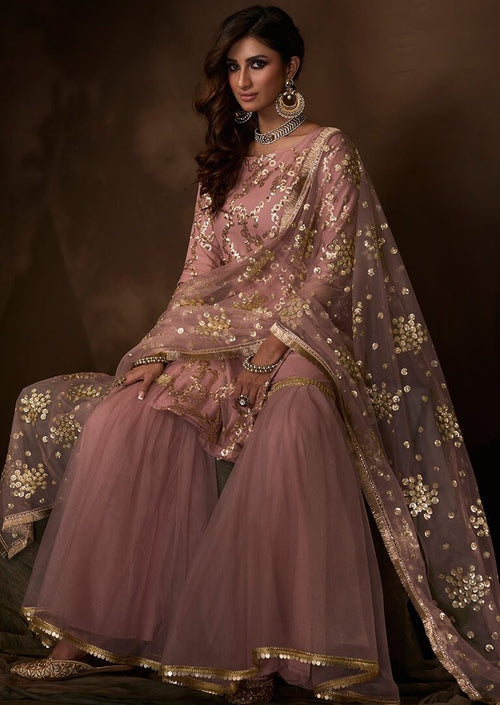 Lilac Sequins Embroidered Net Gharara Suit