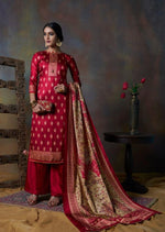 Red & Beige Pure Tusser Silk Embroidered Digital Print Palazzo Suit