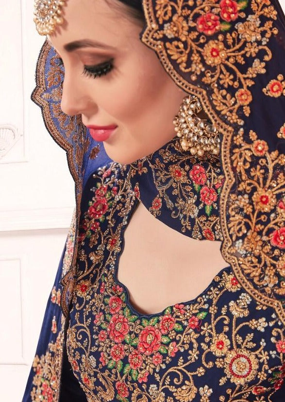 Navy Blue Georgette Embroidered Churidar Suit
