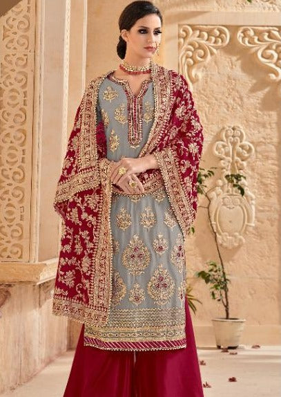 Grey & Red Faux Georgette Embroidered Palazzo Suit