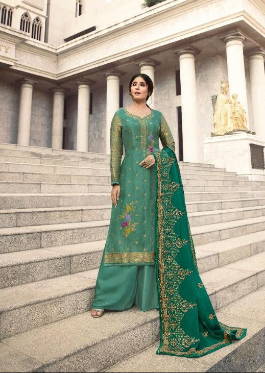 Sea Green & Green Pure Dola Jacquard Silk Embroidered Palazzo Suit