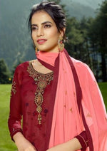 Maroon & Peach Georgette Embroidered Churidar Suit