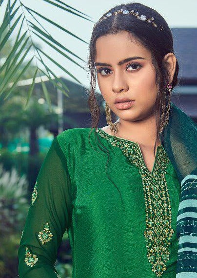 Green & Teal French Crepe Embroidered Digital Print Salwar Suit