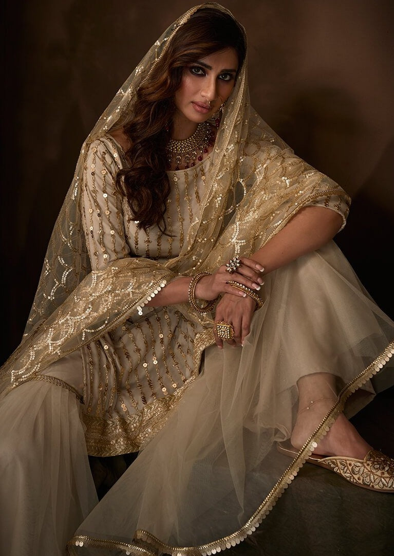 Light Beige Sequins Embroidered Net Gharara Suit