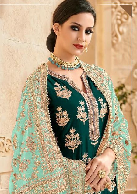 Teal & Firozi Faux Georgette Embroidered Palazzo Suit