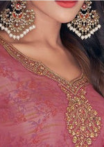 Salmon Pink & Pink Classic Georgette Embroidered Digital Print Churidar Suit