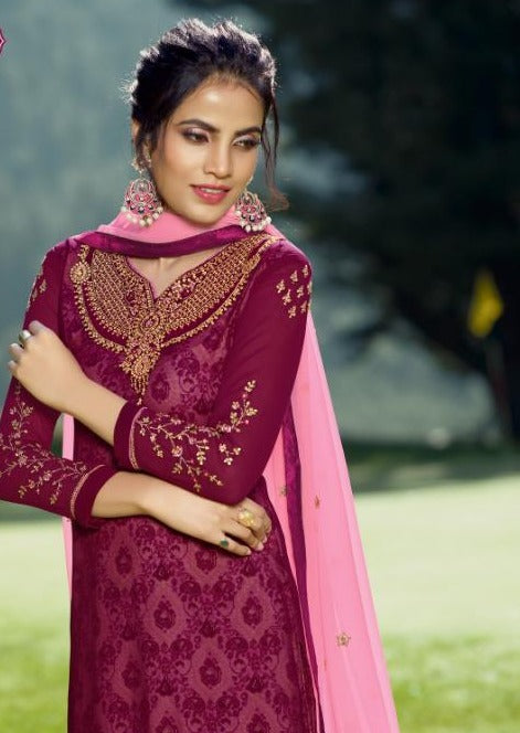 Magenta & Pink Georgette Embroidered Churidar Suit