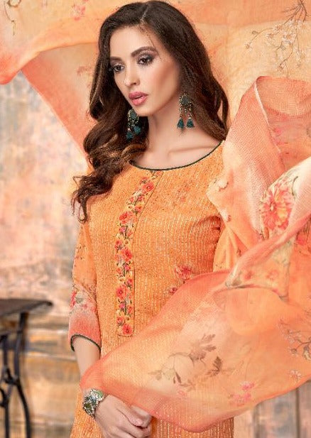Orange Floral Georgette Embroidered Digital Print Palazzo Suit