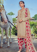 Beige & Red French Crepe Embroidered Digital Print Salwar Suit