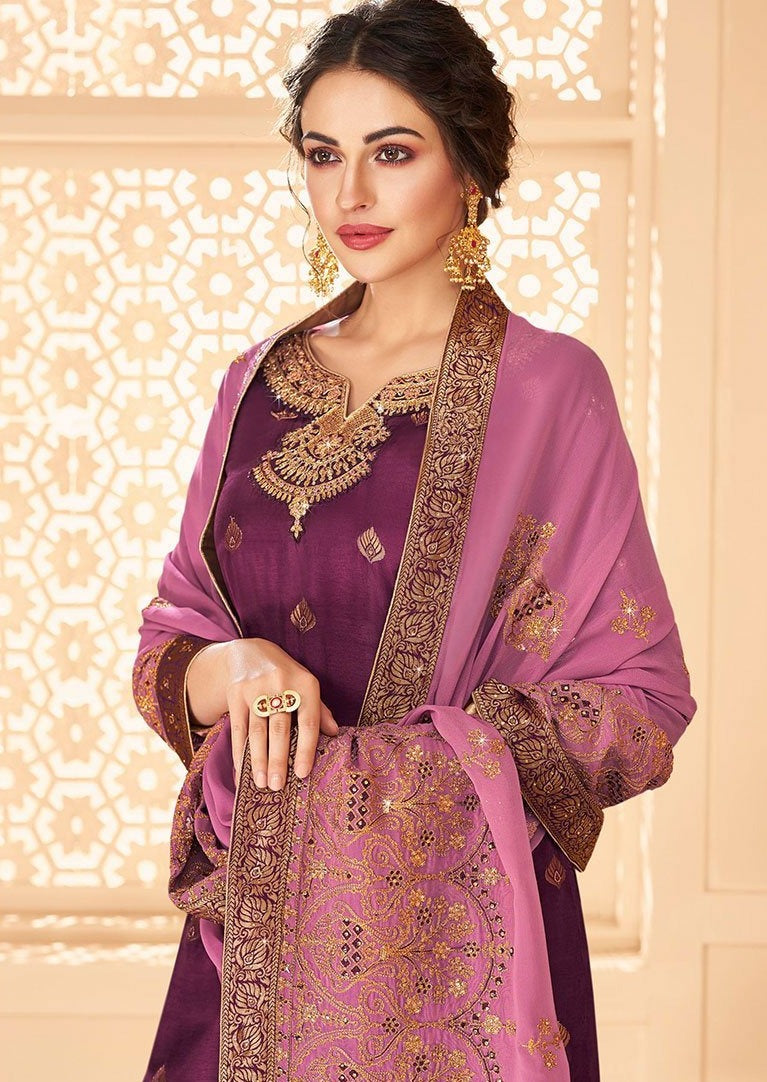 Purple & Lavender Gold Dola Jacquard Embroidered Palazzo Suit