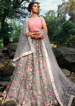 Grey & Pink Floral Net Sequins Embroidered Lehenga Choli