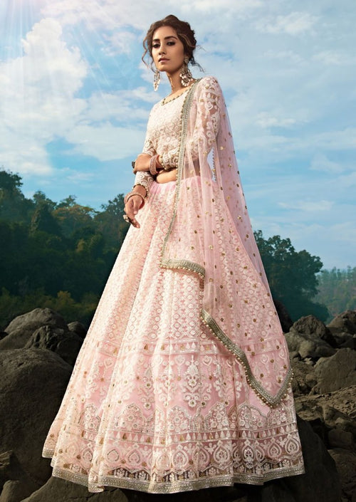 Pink Embroidered Net Sequins Lehenga Choli