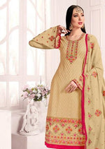 Beige Georgette Embroidered Churidar Suit