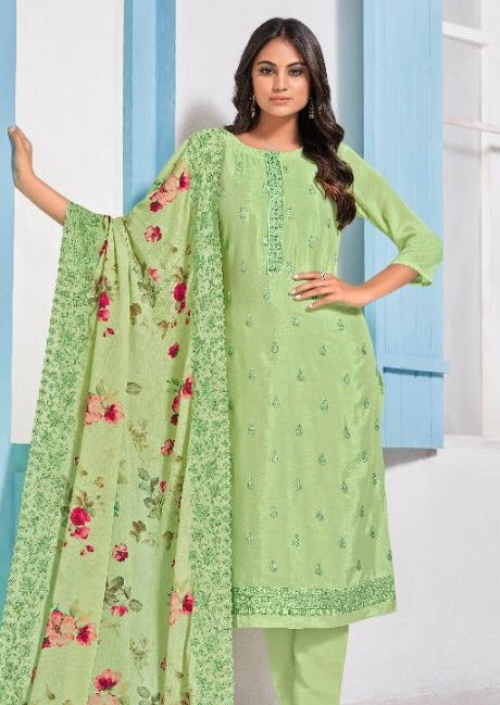 Mint Green Art Silk Embroidered Digital Print Pant Suit