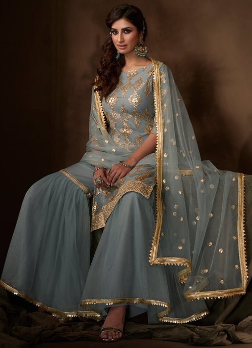 Blue Sequins Embroidered Net Gharara Suit