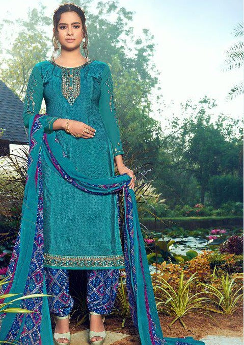 Blue & Navy Blue French Crepe Embroidered Digital Print Salwar Suit