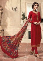 Red Crepe Silk Embroidered Digital Print Churidar Suit