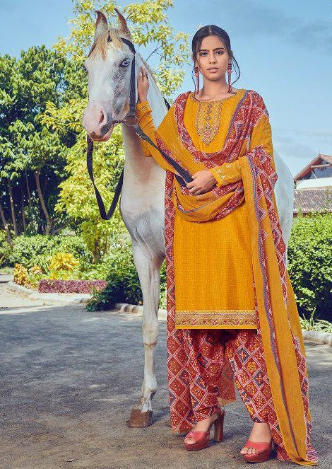 Mustard & Rust French Crepe Embroidered Digital Print Salwar Suit