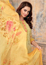 Yellow Floral Georgette Embroidered Digital Print Palazzo Suit