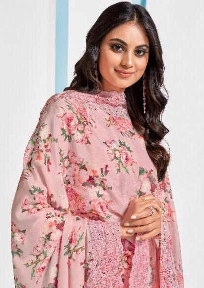 Pink & White Art Silk Embroidered Digital Print Pant Suit