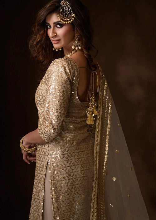 Dusty Beige Sequins Embroidered Net Gharara Suit