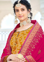 Mustard & Hot Pink Pure Jacquard Silk Embroidered Palazzo Suit