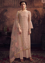 Salmon Pink Georgette Embroidered Palazzo Suit