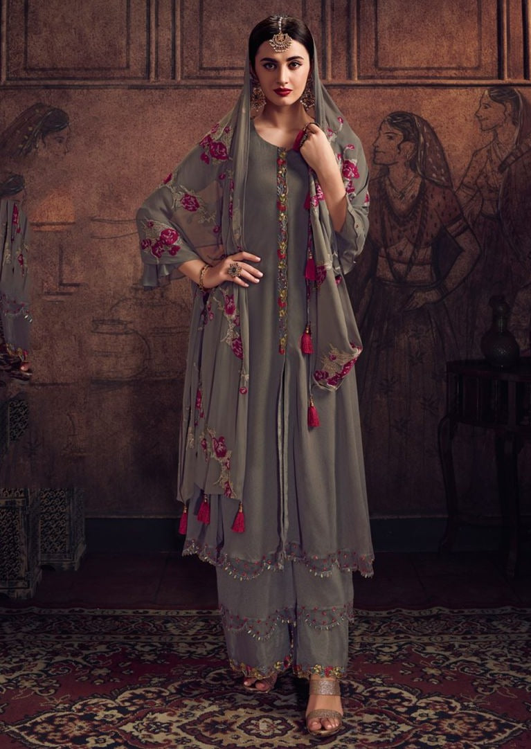 Grey & Pink Georgette Embroidered Palazzo Suit