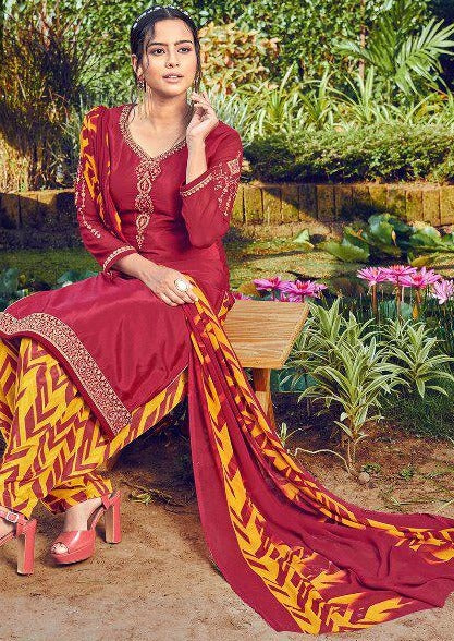 Red & Mustard French Crepe Embroidered Digital Print Salwar Suit