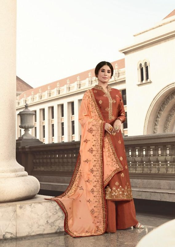 Brown & Light Orange Pure Dola Jacquard Silk Embroidered Palazzo Suit