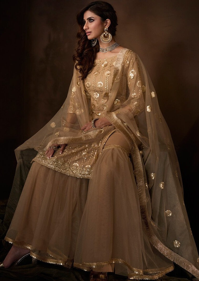 Golden Beige Sequins Embroidered Net Gharara Suit