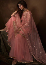 Light Pink Sequins Embroidered Net Gharara Suit