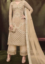 Light Brown Net Embroidered Sequins Palazzo Suit