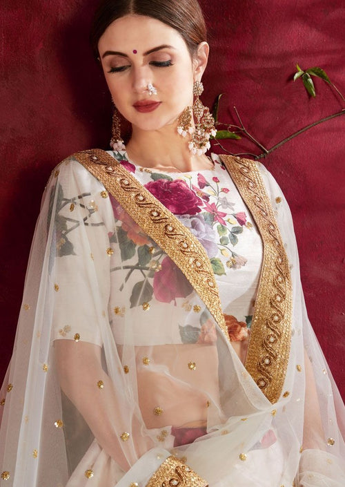 Off White Banglori Silk Embroidered Digital Print Lehenga Choli
