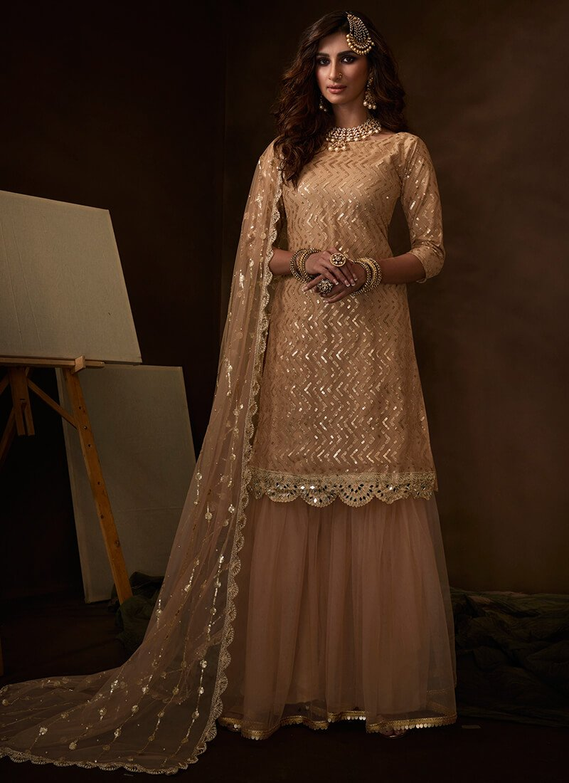Peach Sequins Embroidered Net Gharara Suit