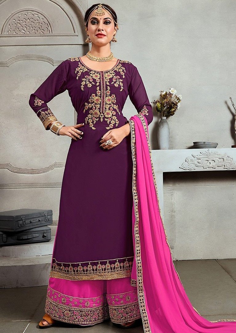 Purple & Pink Golden Embroidered Palazzo Suit
