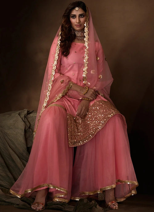 Pink Sequins Embroidered Net Gharara Suit
