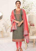 Dark Grey & Coral Embroidered Banarasi Silk Churidar Suit