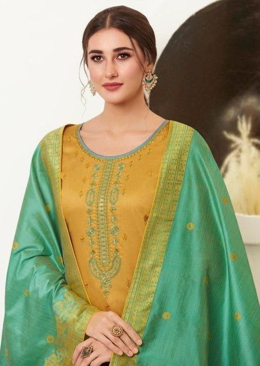 Mustard & Teal Embroidered Banarasi Silk Churidar Suit