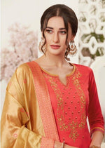 Coral & Beige Embroidered Banarasi Silk Churidar Suit